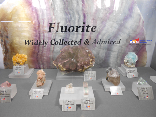 A selection of interesting Fluorite specimens put on display by The Royal Ontario Museum, Canada