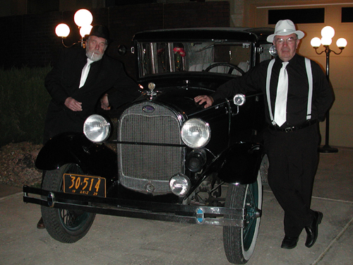 "...two of the gangster Daves posed in front of ""their"" car..."