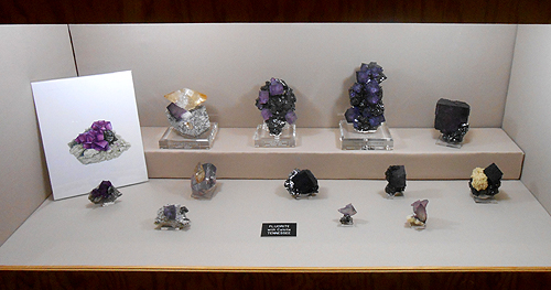 A display of Fluorite and Calcite specimens from Tennessee.