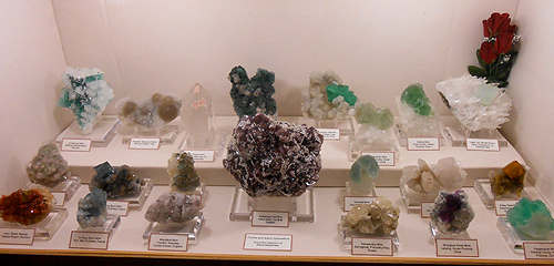 Collector and good friend Steve Maslansky, had this great display of Fluorite specimens.