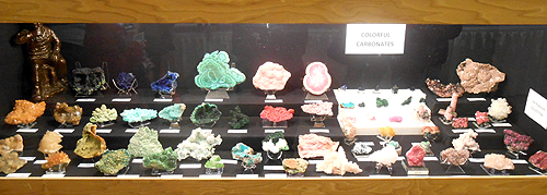 "Collector Jim Robison put together this amazing display of ""Colourful Carbonates"" from various parts of the world."