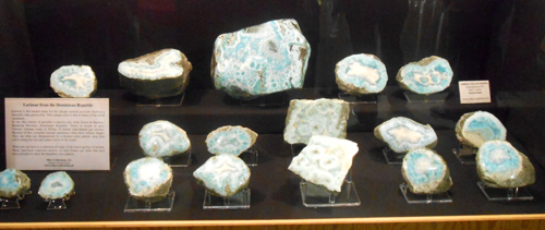 A collection of pieces of Pectolite (var. Larimar) from Sierra de Baoruco, Barahona Province, Dominican Republic, put together by Siber collection AG of Switzerland.