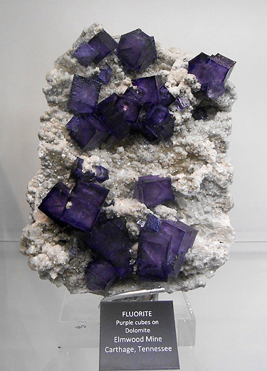 Purple Fluorite cubes on matrix from Elmwood Mine, Tennessee.