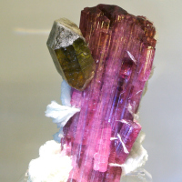 Rubellite with Quartz crystal perched on the side from Malkhan Pegmatite Field, Chitinskaya Oblast', Eastern-Siberian Regiona, Russia