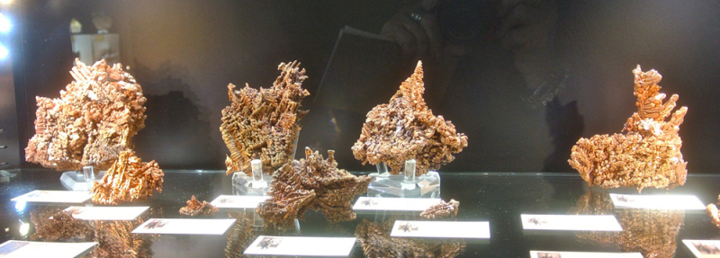 Native Copper specimens from Chino Mine, New Mexico exhibiting fantastic crystallisation, with interlocking herringbone growth