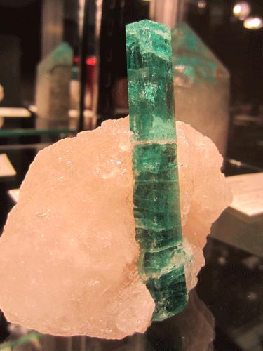 A gemmy Beryl var. Emerald on Quartz from Kagem Emerald Mine, Kafubu Mining District, Copperbelt Province, Zambia.