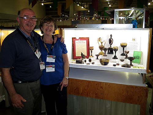 Dave and Liz Hacker with their private collection of Blue John artifacts.