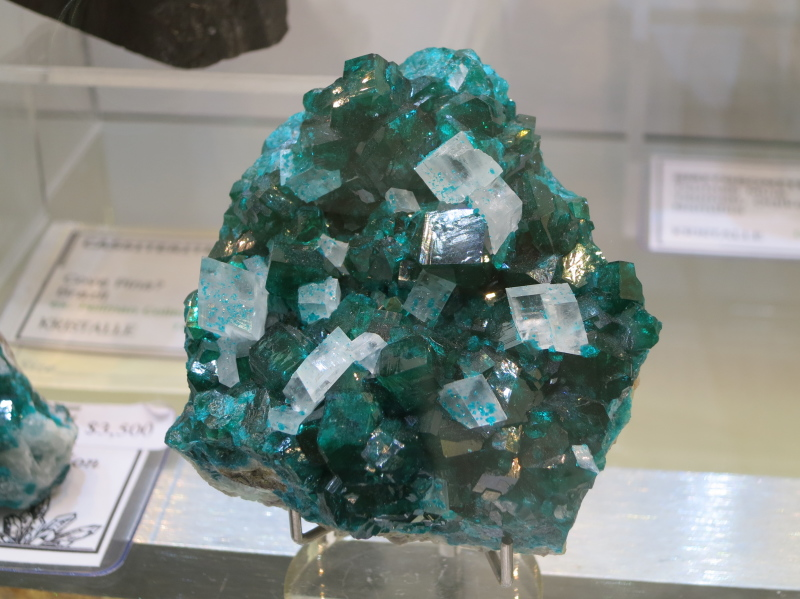 A rather nice Dioptase with Calcite from Tsumeb, Namibia