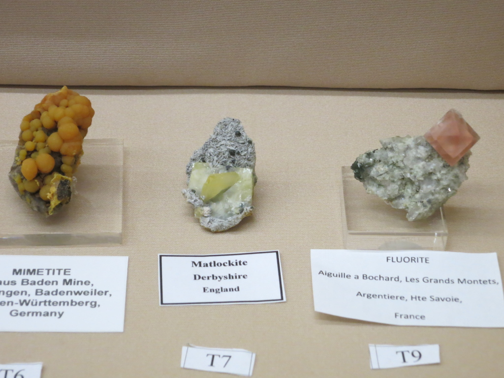 German Pyromorphite, Matlockite from Derbyshire, England, and a sweet pink Fluorite from France