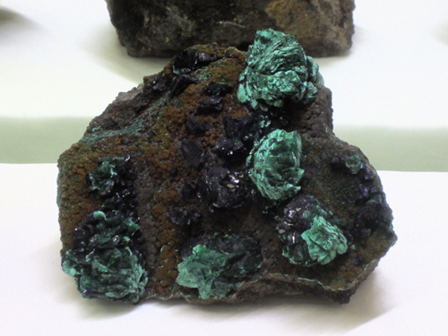 One of my favourites from the Presmyk's display was this little Azurite with Malachite pseudomorphing Azurite from the Morenci Mine, Morenci, Greenlee County, Arizona.
