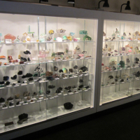 Minerals for sale in the Kristalle room at the Colorado Mineral and Fossil Show