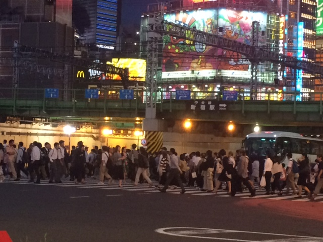 Near Shinjuku station - a mass of very polite humanity