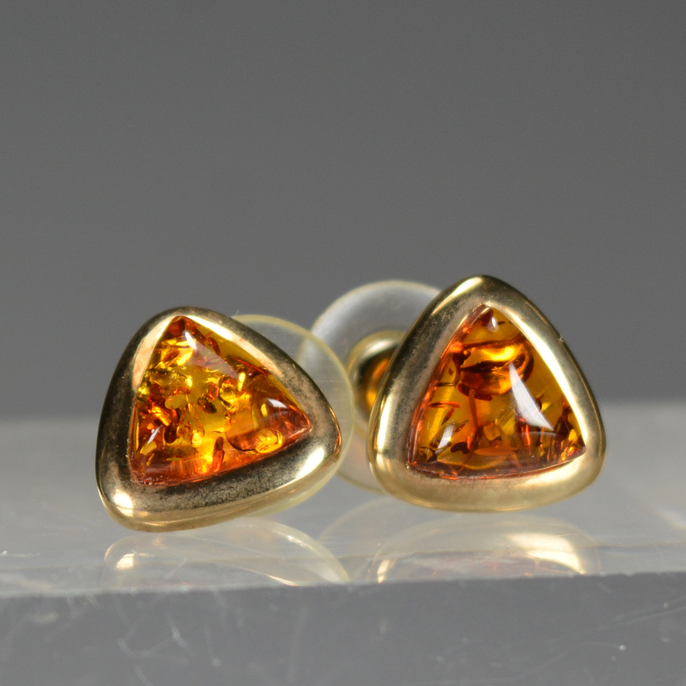 Amber Earrings With 14k Gold